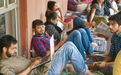 JNU students go on hunger strike against punishment of students for holding Afzal Guru Function