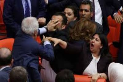Massive brawl erupted in Turk Parliament over Constitutional changes