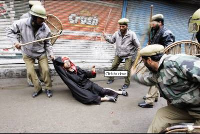 Indian Police crackdown in Indian Occupied Kashmir
