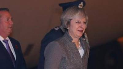 British PM lands in New Delhi in first foreign visit outside EU