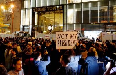 Thousands of Americans protest outside Trump Tower in New York