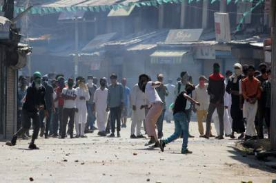 Strong anti India protest errupt in Srinagar against domicile issue