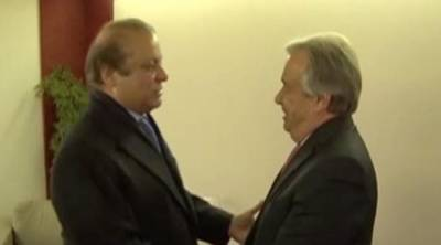 PM Nawaz Sharif meets UN Chief in Davos