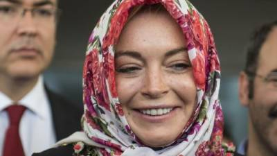 American actress Lindsay Lohan intimated at Heathrow Airport due head scarf
