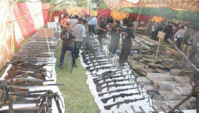 Sindh Rangers recover huge cache of weapons from MQM London Office in Karachi
