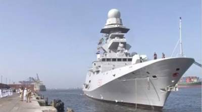Italian Navy ship docks at Karachi Port