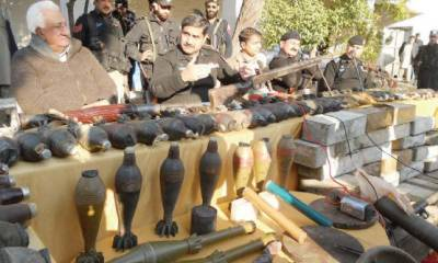 Huge cache of arms seized from vehicle on Indus Highway