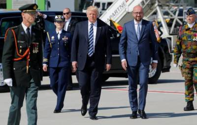 Donald Trump arrives in Brussels for talks with EU, NATO leaders