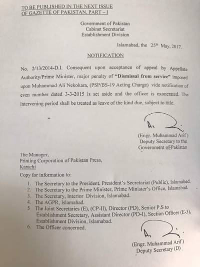 Former SSP Islamabad Muhammad Ali Nekokara reinstated in service