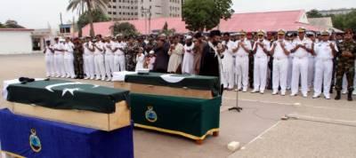 Pakistan Navy martyred officials funeral prayer held