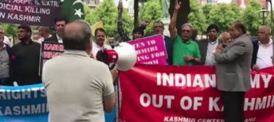 Kashmiris protest on streets of Hague as PM Narendra Modi arrives in Netherlands