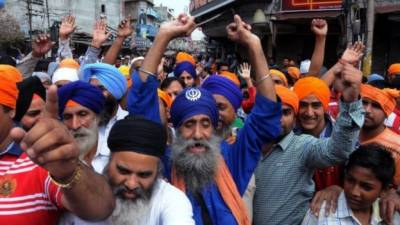 Indian Sikhs protest against Narendra Modi government
