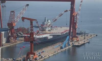 China's domestically build Aircraft Carrier prepares to launch