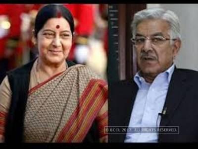 Khawaja Asif - Sushma Swaraj encounter at SAARC Ministerial conference