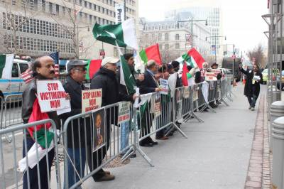 A dozen of MQM - London supporters protest in New York, founder addresses live