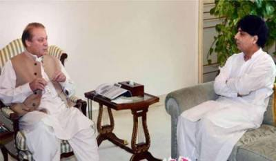 Nawaz Sharif holds one on one meeting with Ch Nisar in Islamabad