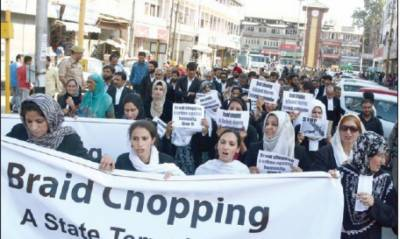 Huge demonstrations across occupied Kashmir against Braid Chopping conspiracy