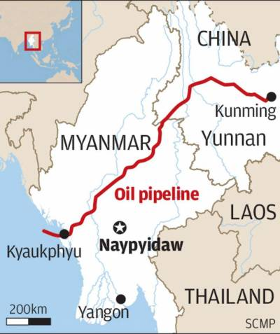 China Myanmar Economic Corridor proposed by Beijing