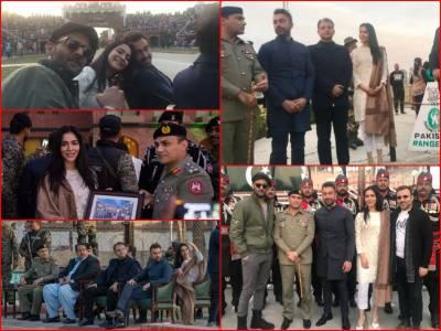 Shaan, Humaima, Mohib visit Wagah border to promote