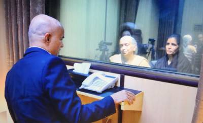 What did Indian spy Kulbhushan Jadhav speak with his family