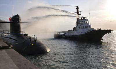 Pakistan Navy warships, submarine dock at middle eastern port