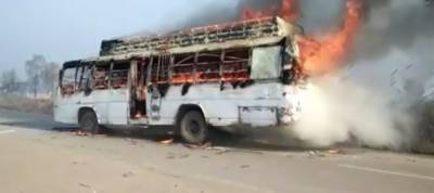 Students set bus on fire after two brothers, sister crushed