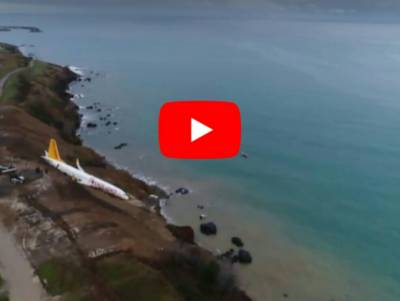 VIDEO: Turkish plane skids off the runway just meters away from the sea