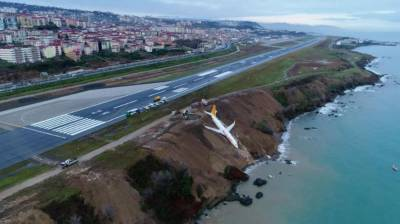 Plane skids off Turkish runway and plunges towards sea