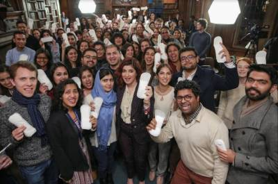 Malala Yousafzai holds female sanitary pads in hand to promote Bollywood movie