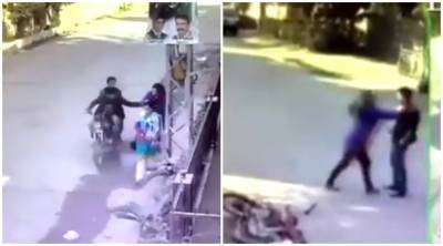VIDEO: A brave Pakistani girl beats two dacoits on road
