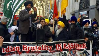 Indian authorities rattled by Indian Sikhs, Kashmiris protests in London on Republic Day