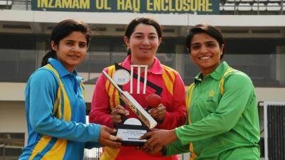 PCB unveils trophy of triangular women cricket tournament