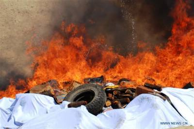 Afghan authorities burn mass narcotics