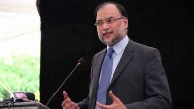 Interior Minister Ahsan Iqbal hit with a shoe in his hometown ceremony