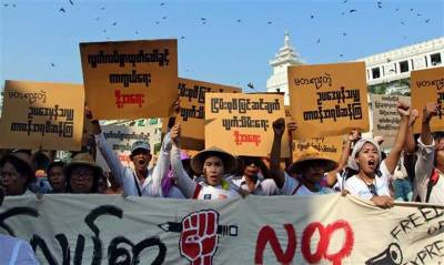 Hundreds march in Myanmar to oppose new curbs on protests