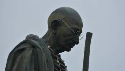 Father of the Indian nation Mahatma Gandhi statue defaced in India