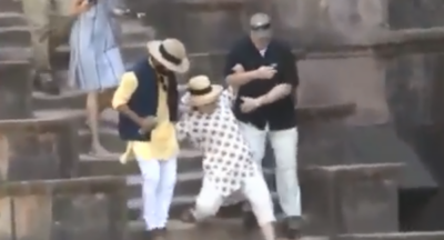 VIDEO: Hillary Clinton slips and slides twice in India
