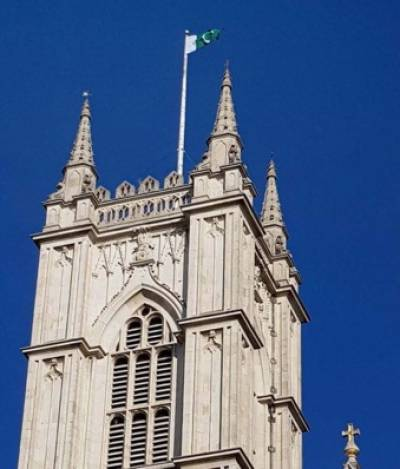 Pakistani flag hoisted on historical Westminster Abbey in London to honour Pakistan Day