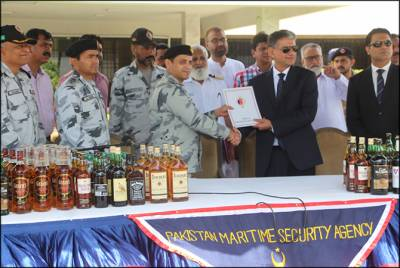 Pakistan Navy - PMSA seize one of the largest quantity of liquor from international Sea