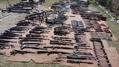Three hardcore terrorists arrested, huge cache of arms recovered