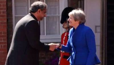 Pakistan PM Shahid Khaqan meets British PM Theresa May in London
