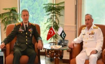 Turkish Military Chief calls on Pakistan Navy Chief at Naval Headquarters