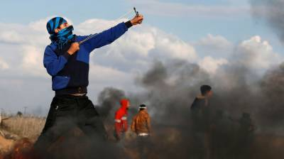 (VIDEO):Palestinian youth takes down Israeli drone with slingshot