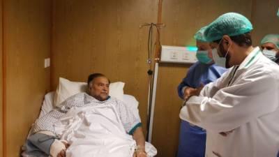Ahsan Iqbal takes first steps since gun attack