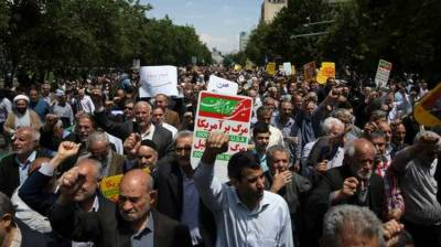 Massive protest in Tehran against US withdrawal from nuclear deal