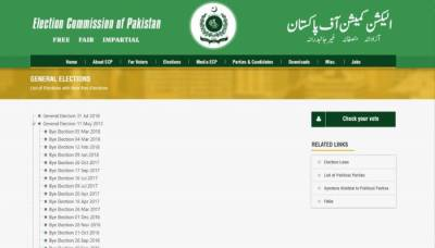 ECP website unveils date for General Elections 2018