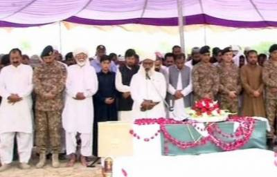 Funeral prayers of martyred Colonel Sohail Abid offered in Vehari
