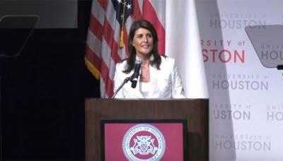 US ambassador to UN Nikki Haley heckled by students over anti-Palestine stance