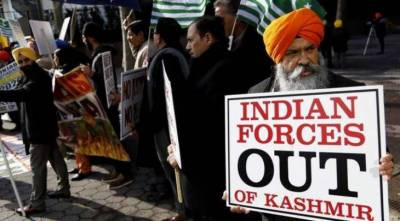 Sikh community stages protest against Indian forces