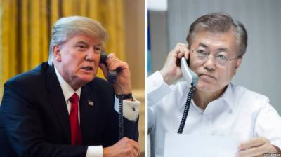 Trump, Moon discuss denuclearization issues ahead US-N Korea summit